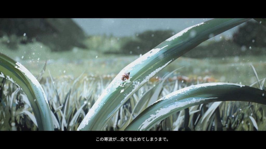 凍った葉とてんとう虫